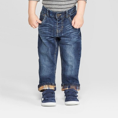 Toddler Boys' Flannel Lined Straight Jeans - Cat & Jack™ Medium Blue