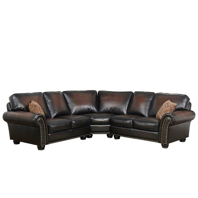 Mervin Bonded Leather 3 Piece Sectional - Brown - Abbyson