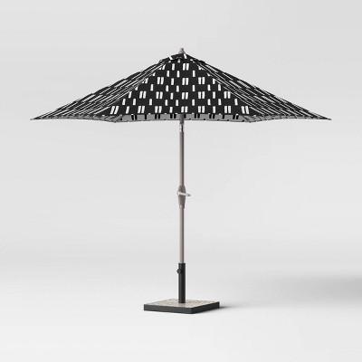 9 round spaced stripe patio umbrella duraseason fabric black ash pole project 62