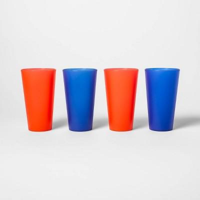 21oz 4pk Plastic Tumblers Red/Blue - Sun Squad™