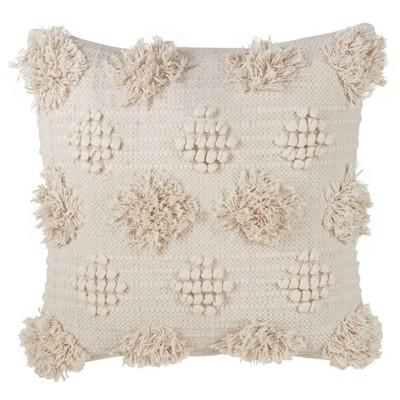 moroccan down filled pom pom throw pillow ivory saro lifestyle