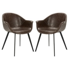 Radford Accent Tub Chair Oval Table And 4 Chairs Set Of 2 Dublin Midcentury Modern Leather Dining Dark Brown Black Safavieh