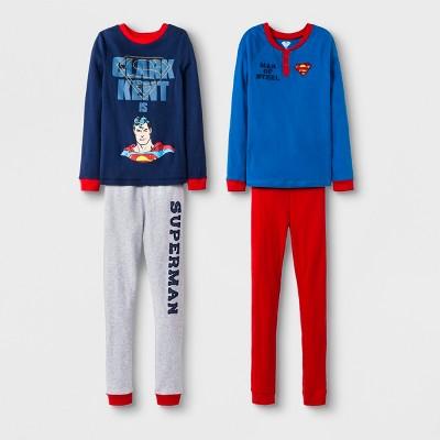 Boys' Superman 4pc Pajama Set - Blue