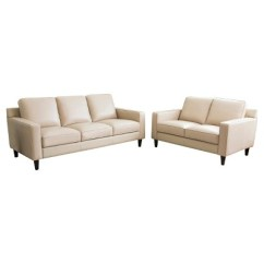 Abbyson Living Belmont Leather Sofa 3 Seater Recliner Nz Olivia 2pc Top Grain And Loveseat Cream Target