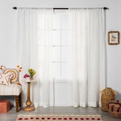 Embroidered Floral Sheer Curtain Panel White - Opalhouse™