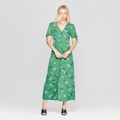 Women's Floral Print Short Tie Sleeve V-Neck Button Detail Maxi Dress - Who What Wear™ Green