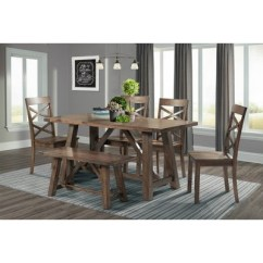 Farmhouse Table And Chairs With Bench Diy Dining Chair Slipcovers Regan 6pc Set 4 Side Walnut Brown Picket House Furnishings Target
