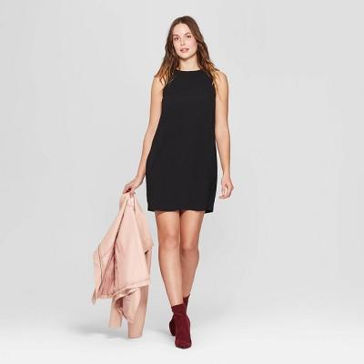 Women's Sleeveless Crewneck Crepe Dress - A New Day™ Black