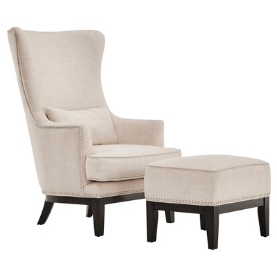 Park Way Grand Arm Chair with Ottoman Oatmeal - Inspire Q®