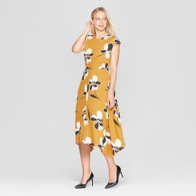 Women's Cap Sleeve Asymmetric Hem Midi Dress - Who What Wear™