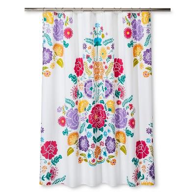 Floral Fiesta Shower Curtain White & Pink - Pillowfort™