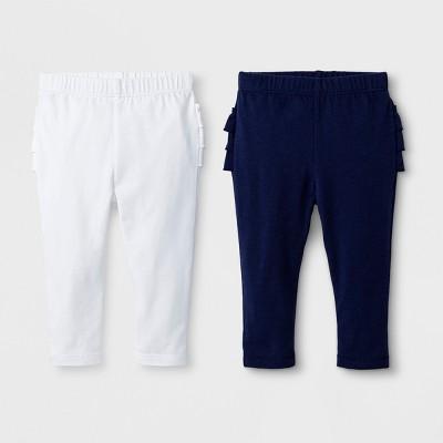 Baby Girls' 2pk Leggings Set - Cat & Jack™ Nightfall Blue/True White