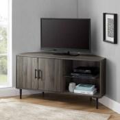 "Contemporary Corner TV Stand for TVs up to 55"" -Slate Gray - Saracina Home"