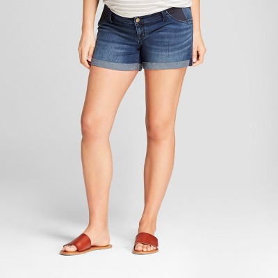 Maternity Inset Panel Midi Jean Shorts - Isabel Maternity by Ingrid & Isabel™ Dark Wash