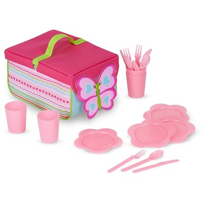 Melissa & Doug® Sunny Patch Cutie Pie Butterfly Picnic Set With Basket, Plates, and Utensils