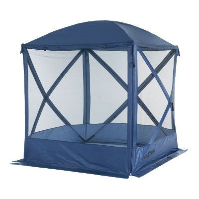 slumbertrek 3036042low vmi flexion lightweight outdoor 4 sided pop up gazebo canopy shelter with mesh screen netting and carrying bag navy blue