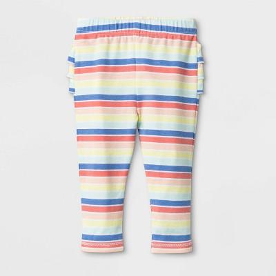 Baby Girls' Ruffle Bum Stripe Leggings - Cat & Jack™ Rainbow
