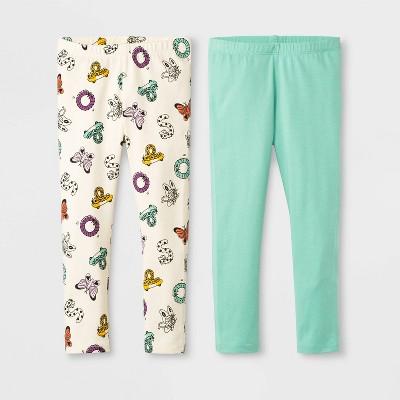 Toddler Girls' 2pk Leggings - Cat & Jack™ Cream/Mint