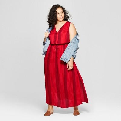Women's Plus Size Striped Sleeveless V-Neck Maxi Dress - Universal Thread™ Red