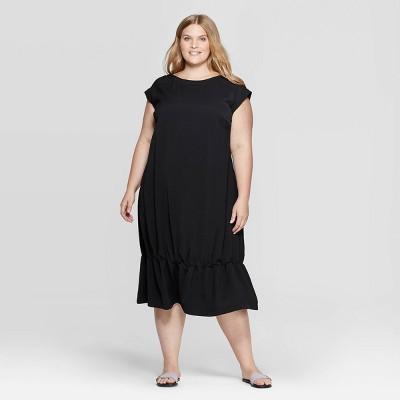 Women's Plus Size Short Sleeve Crewneck Shift Midi Dress - Prologue™ Black