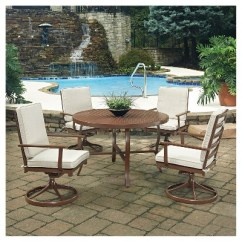Key West Chairs Swing Chair Photos 5pc Round Metal Patio Dining Set W Swivel Rocking Chocolate Brown Home Styles