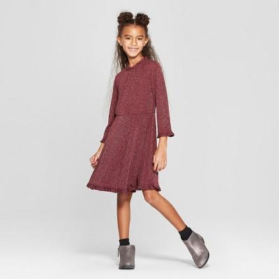 Girls' Ruffle Edge A Line Dress with Lurex - art class™ Burgundy