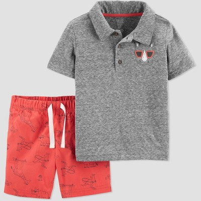Toddler Boys' 2pc Rhino Shorts Set - Just One You® made by carter's Gray/Red
