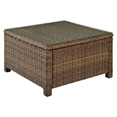 crosley bradenton outdoor wicker sectional glass top coffee table
