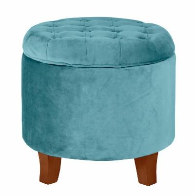 velvet tufted round ottoman with storage teal homepop