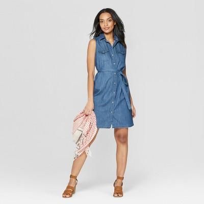 Women's Sleeveless Western Denim Shirtdress - Universal Thread™