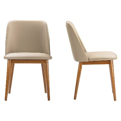beige dining chairs hanging chair frame lavin mid century faux leather brown walnut set of 2 baxton studio