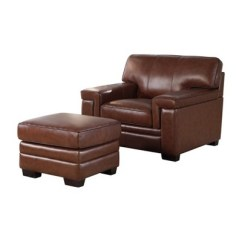 Leather Chair Ottoman Set Rocking Styles Pictures Evan Top Grain And Brown Abbyson Living Target