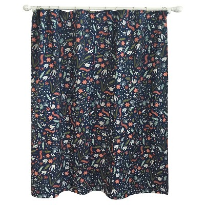 Floral Festival Shower Curtain Navy - Pillowfort™