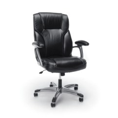 Black Leather Office Chair High Back Eames Molded Plywood Dining Replica Swivel Tilt Ofm Target