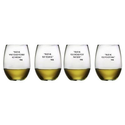Susquehanna Glass Trust Me 21oz Stemless Wine Glasses - Set of 4