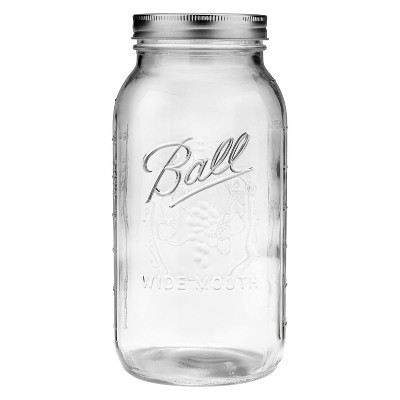 Ball 64oz Glass Mason Jar with Lid and Band - Wide Mouth