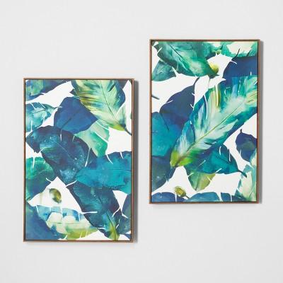 Tropical Palm 2pk Framed Wall Canvas Blue 23 2 X 35 2