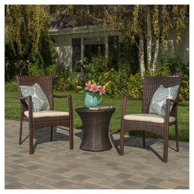 corsica 3pc all weather wicker patio chair set brown christopher knight home