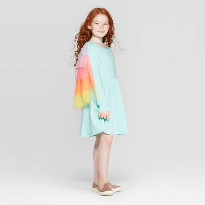 Girls' Long Sleeve Sparkle Rainbow Cape Dress - Cat & Jack™ Aqua