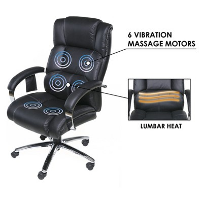 massage chair with heat upholstered dining room chairs nailhead trim executive 6 motor lumbar support and black 7 more