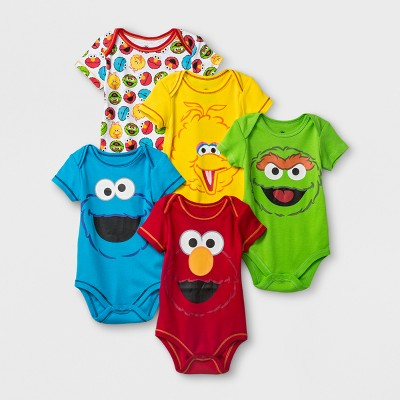 Baby 5pk Sesame Street Elmo/CookieMonster/Oscar the Grouch/Big Bird Bodysuit - Red/Yellow/Blue