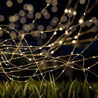 100ct Starry Solar LED Fairy Outdoor String Lights Warm White - Pure Garden