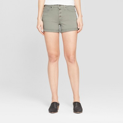 Women's High-Rise Button Fly Double Cuff Jean Shorts - Universal Thread™ Olive