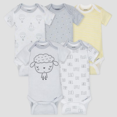 Gerber Baby 5pk Short Sleeve Onesies Bodysuit Sheep - Gray/White/Yellow