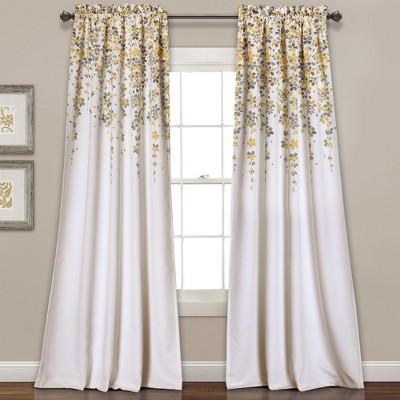 Weeping Flowers Room Darkening Window Curtain Set - Lush Dcor