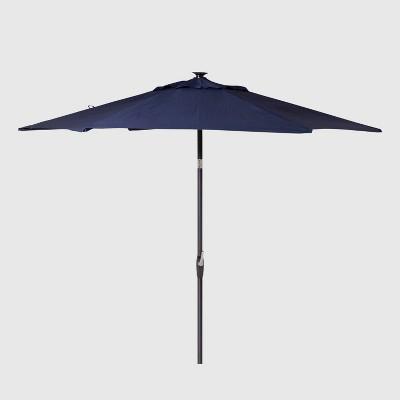9 round solar patio umbrella duraseason fabric navy black pole threshold