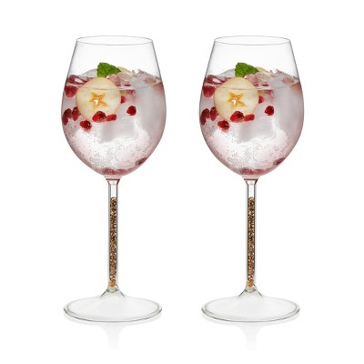 Libbey Glint Gold Stem Wine Glasses 15oz - Set of 2
