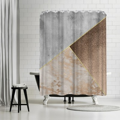 americanflat chic rose gold marble copper triangles by grab my art 71 x 74 shower curtain