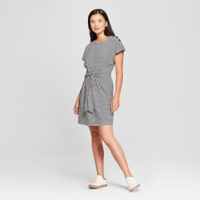 Women's Striped Print Tie Front Dress - Loramendi - Navy/White