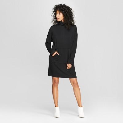 Women's Long Sleeve Mock Neck Sweatshirt Dress - Prologue™ Black